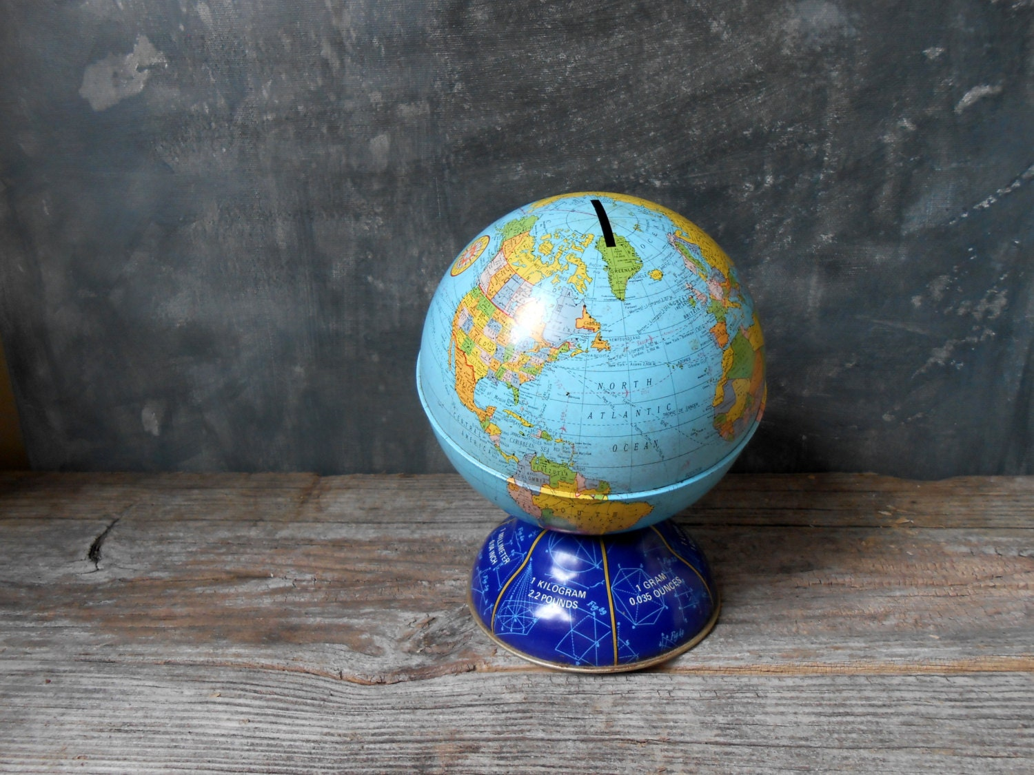 vintage tin globe bank vintage ohio art globe coin bank. Black Bedroom Furniture Sets. Home Design Ideas