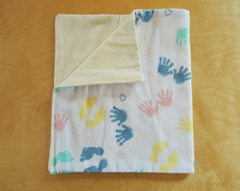 Hand and Footprint Flannel Baby Burp Cloths - Set of 2