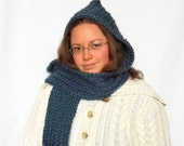 Blue Hooded Scarf - Warm and Soft