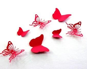 Red Butterfly wall art, Paper butterflies, 3d Wall Arts, Red home decor, 3D wall butterflies, Butterfly Wall decals, baby room wall art