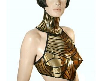 cleopatra armour corset halter top, sci fi costume top,lady ga bra,rave bra, burning the man, cyberpunk, steampunk, futuristic clothing