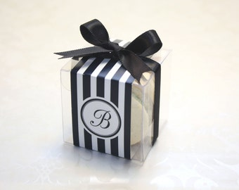 French Macaron Boxes, Black and White, Wedding Favor Boxes - Set of 24 Favor Boxes, party supplies