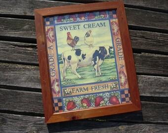 Charming farmhouse home decor, vintage framed picture, rustic farm decor.