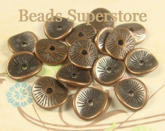 SALE 9.5 mm x 8.5 mm Antique Copper Wavy Spacer Bead - Nickel Free, Lead Free and Cadmium Free - 20 pcs