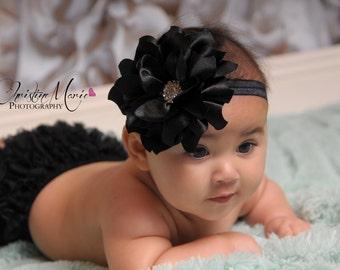 Baby girl headbands, red flower headband, black flower headband, baby headbands, newborn headbands, red headbands, infant headband