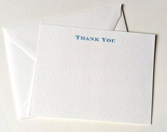12 Thank You Note Cards, Thank You Note Stationery, Set of 12 Flat Note Cards and Envelopes