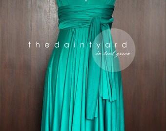 Short Straight Hem Teal Green Infinity Dress Multiway Dress Bridesmaid Dress Convertible Dress Wrap Dress Maid of Honor Dress Prom Dress
