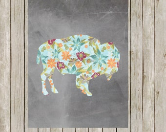 8x10 Buffalo Modern Art Print, Bison, Floral, Chalkboard Wild Game Print, Poster, Nursery Wall Art, Home Decor, Instant Digital Download