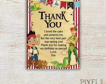 YOU CHOOSE Jake and the Neverland Thank You Cards, Pirate Thank You Card, Peter Pan Thank You Card