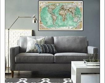 Vintage World Map Art Blank World Map Vintage Digital Art By Eti - Large vintage world map poster