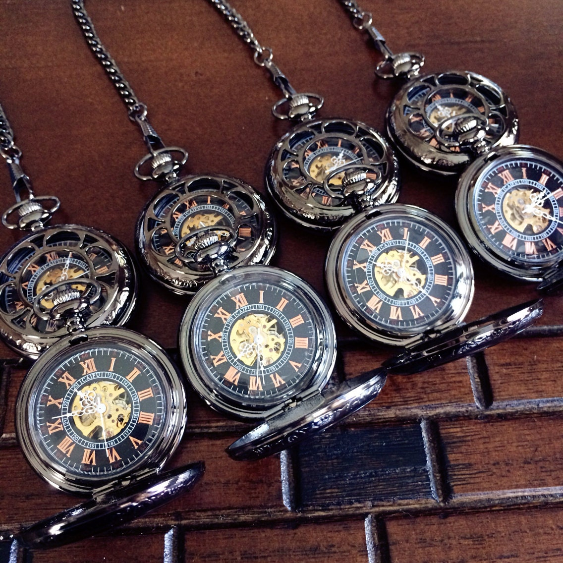 set of 8 personalized pocket watches by pocketwatchkeepsakes