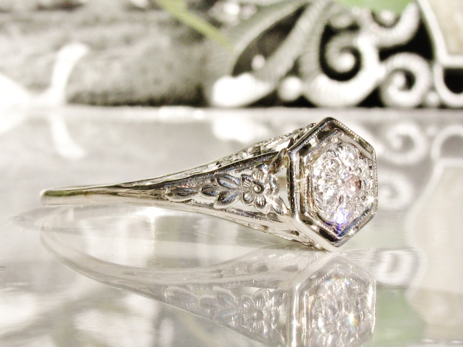 Antique Engagement Ring Art Deco Engagement Ring Diamond
