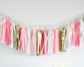 PINK PRINCESS tissue tassel garland // wedding decor // bridal shower // valentines