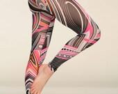 YOGA Leggings Abstract Pink Mesh Leggings - Women's Fashion Yoga Pilates Leggings Tights - Gift for Her - Made in England SS15