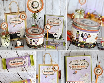 Instant Digital Download- Mummy Printable Halloween Projects, 300 dpi- Buckets, gift bags, candy wrappers, book covers, straw toppers