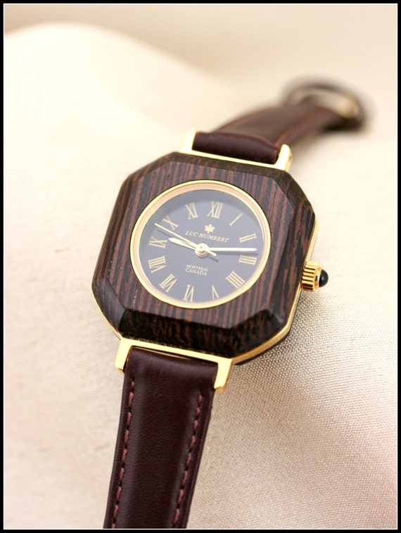 unique wood watches gold square