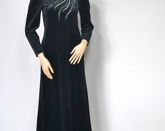 1970's Dress Party Gown Vintage Dress Black Velvet  Sequined Party Gown Velvety Dress Long Maxi Prom Princess Dress Barad & Co. Size Small