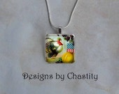Thanksgiving Turkey Necklace Pendant Glass Tile Charm - Chain Included - DesignsbyChastity