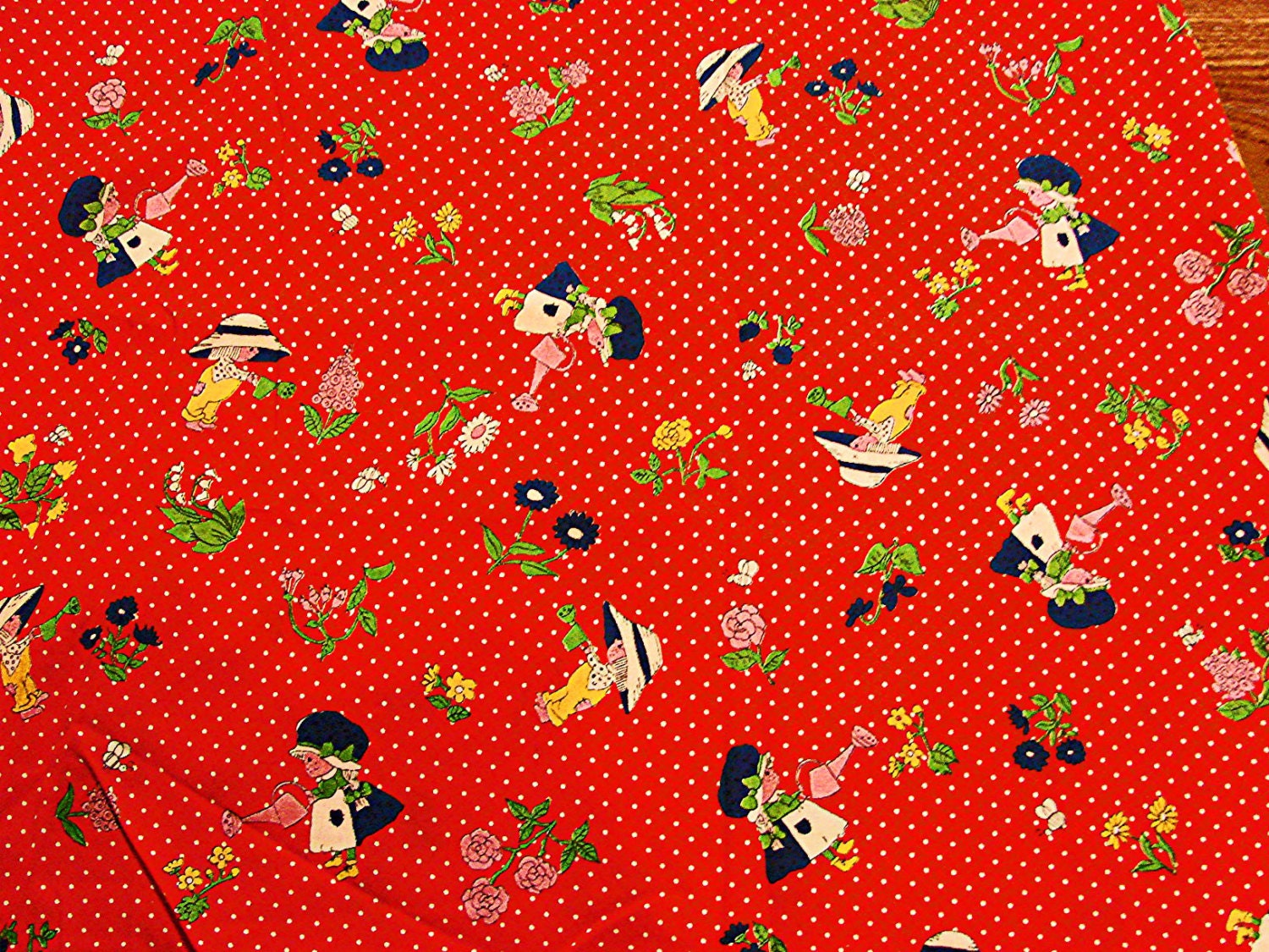 1970s fabric juvenile novelty print fabric girls with for Kids novelty fabric