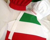 ITALIAN Flag CHEF APRON or Set with PERSONALiZED Hat -Sizes for  Baby -Toddler - Child - Adult .