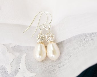 Teardrop Bridal Earrings, Wedding Pearl Earrings, Crystal Bridal Drop Earrings, Ivory Pearl Wedding Earrings