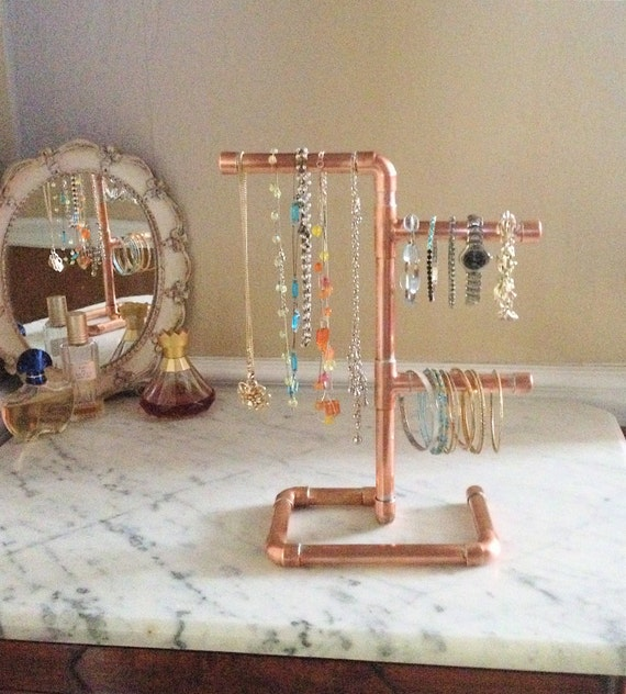 Copper Pipe Jewelry Tree Modern Jewelry Organizer By