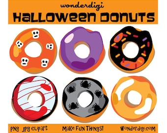 Halloween Clipart - Donut Clipart - Halloween Donuts - DIY printable INSTANT DOWNLOAD