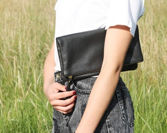 Black Leather Foldover Clutch with Linen Lining