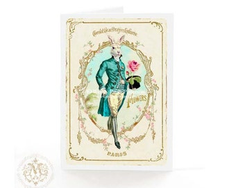 Rabbit,  card, Fathers day, anthropomorphic rabbit, Alice in Wonderland, white rabbit, birthday card, pocket watch, top hat, Easter card