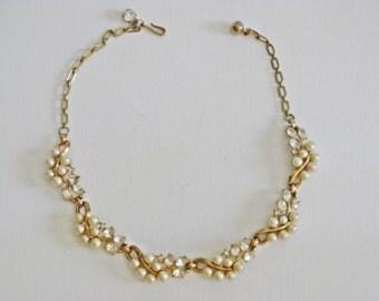 Vintage Faux Pearl Clear Rhinestone Necklace (N-2-3)