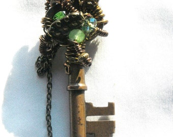 Steampunk Gadget Wire Wrapped Vintage Skeleton Key