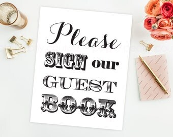 Printable Wedding Guest Book Sign Decoration Decor INSTANT DOWNLOAD 8x10