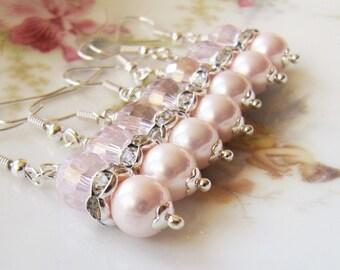 Pink Bridesmaid earrings, bridesmaid gift, pearl earrings, crystal dangle earrings, pink bridal jewelry,pink weddings