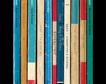 Oasis 'Definitely Maybe' Album As Books Poster Print | Literary Music Print | Penguin Books