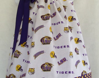 LSU Pillowcase Dress / Geaux Tigers / LSU Kids / Purple & Gold/ Tigers/ Infant / Baby / Girl / Toddler / Handmade / Custom Boutique Clothing
