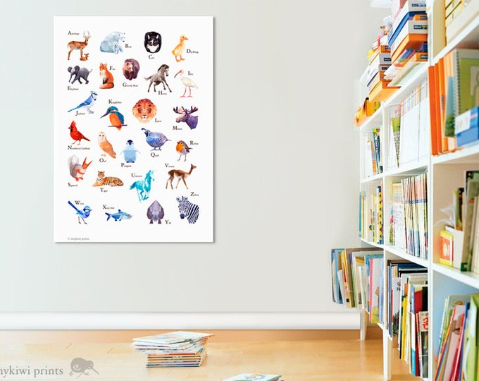 Nursery art for children, ABC Poster, Alphabet wall art, abc animals, Animal print, Baby shower, Alphabet art, Geometric animals, tinykiwi
