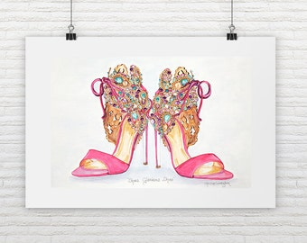 Fashion Art Print Pink Shoes Print Jewelled Shoes Fashion Illustration Watercolor & Rhinestones Fashion Wall Art  Designer Shoe Illustration