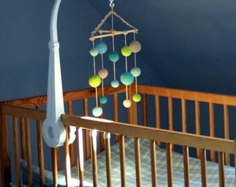 Baby Crib Mobile - Crochet Pastel Baby Boy mobile -  Beige/Mint greens/Aqua/Salad green Balls Mobile(5-color mobile) - Baby boy nursery