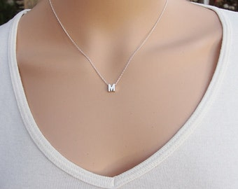 Sterling Silver Personalized Necklace, Sterling Silver Letter Necklace, Charm Jewellery, Silver Initial Necklace