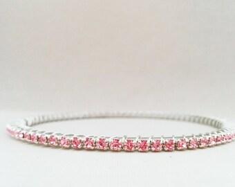 Pink Crystal Bracelet, Wedding Jewelry, Bridesmaid Gift, Stacking Bracelet, Bride Jewelry, Rhinestone Bracelet, Thin Stacking Bangle, Blush