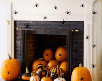 Dozen (12) Spider decal stickers are Perfect Spooky Halloween Decor Removable Vinyl Wall Art Decal Window decor, Floor, Pumpkin, All Over