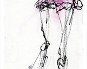 Ballerina Sketch,  Pink Tutu,Girls room art