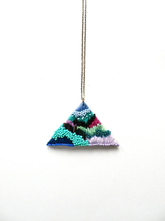 Hand embroidered Triangle Necklace / Purple, Violet, Turquoise, Mint, Blue & Green / Embroidered Geometric Pendant Statement Necklace