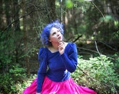 SALE - 50% code ALLYOUNEEDISLOVE Blue Velvet Pink Raw Silk Dress - Party, bridal Renaissance style full skirt Costume Dress in Neon colors