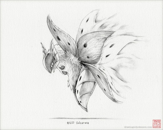 Volcarona 8 x 10 print pokemon drawing art artwork