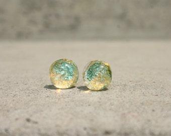 Aqua blue glass stud earrings, glass studs, post earring, dichroic earring, tiny stud earrings, bridesmaid gift, Light turquoise, mint green