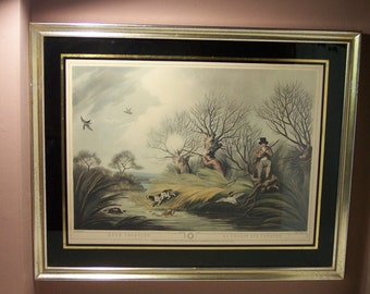 Vintage Hunting Art DUCK SHOOTING Print Framed with Glass Lithograph Edward Orme, La Chasse Aux Canards