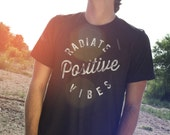 Good Vibes Shirt, SMALL, Guys Shirts, Graphic Tees for Men, Black, Positive Vibes Shirt