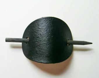 Pebbled Leather Barrette, Hair Accessories, Black Hair Slide, Leather Barrettes, Bun Holder, Stick Barrette, Leather Accessories, For Her