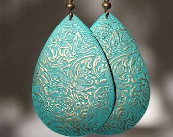 Turquoise Earrings Patina Earrings Boho Earrings Drop Earrings Dangle Earrings Jewelry Etched Lightweight earrings Gift For Her Gift Ideas